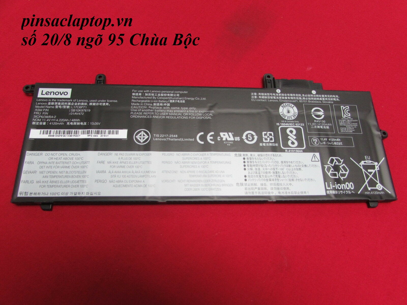 Pin - L17C6P71 Battery Lenovo ThinkPad x280