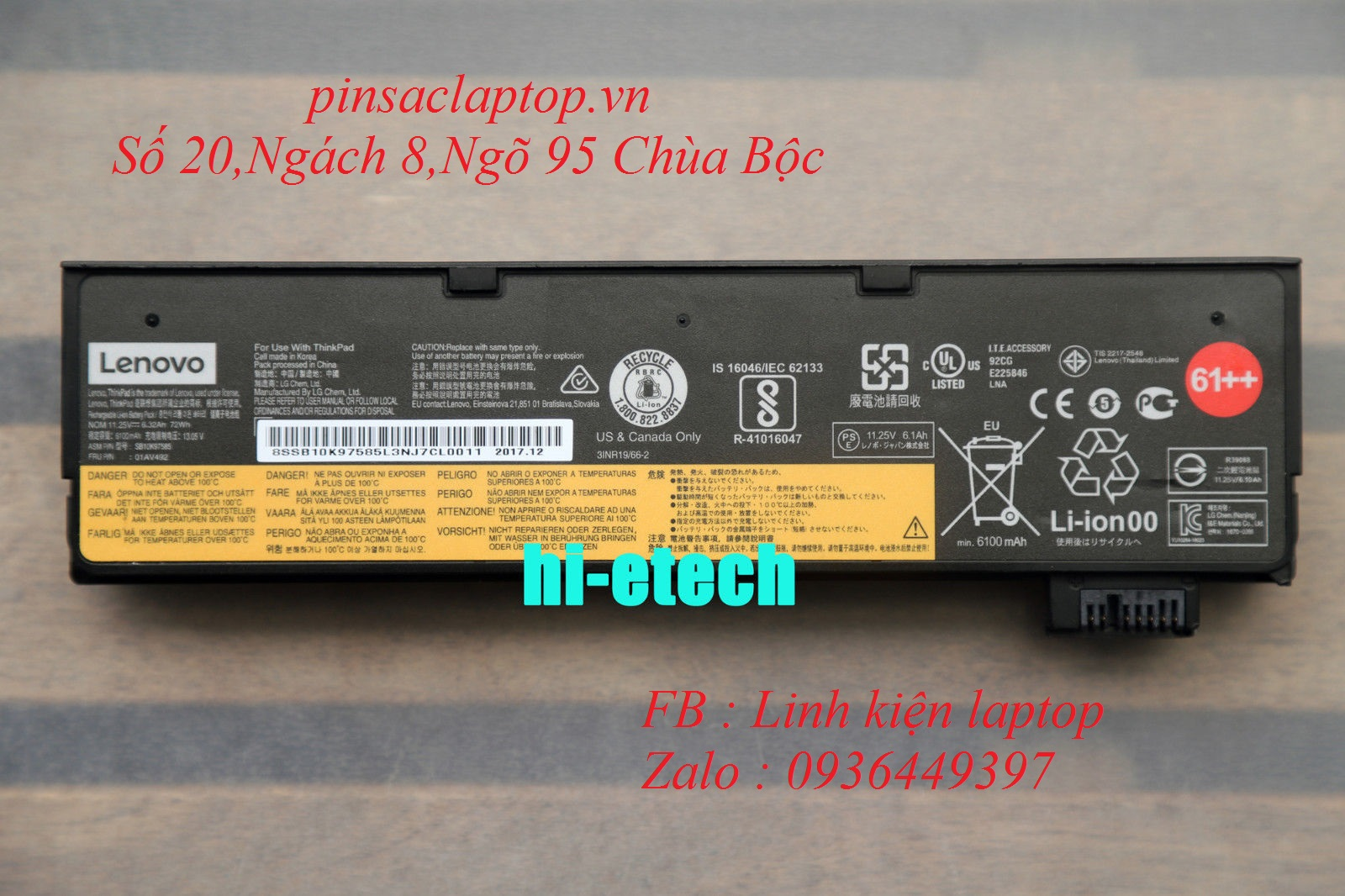 Pin - Battery Lenovo ThinkPad T470 6 cell