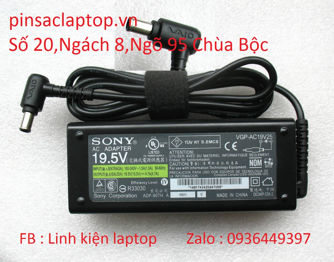 Sạc Adapter Laptop Sony Vaio SVF142C29L